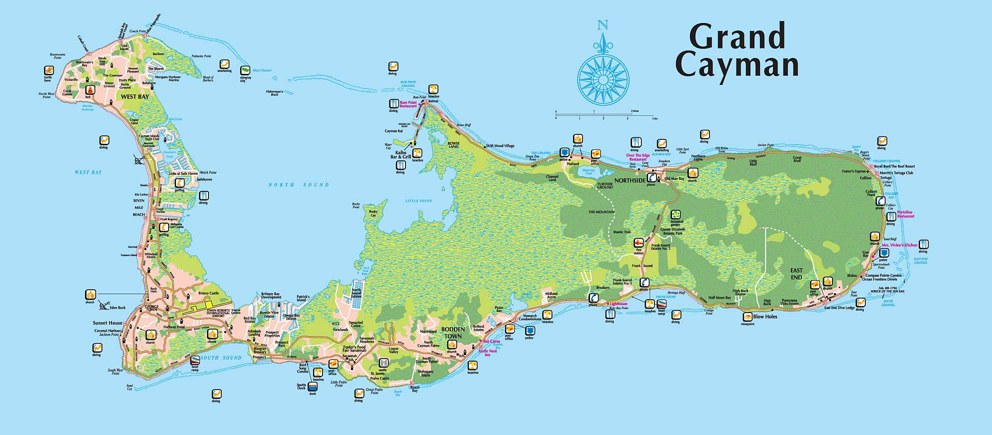 Grand Cayman Map Queen Elizabeth II Royal Botanic Park – Our Location Grand Cayman Map